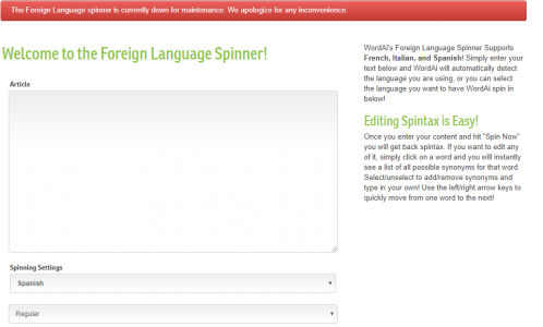 foreign language spinner